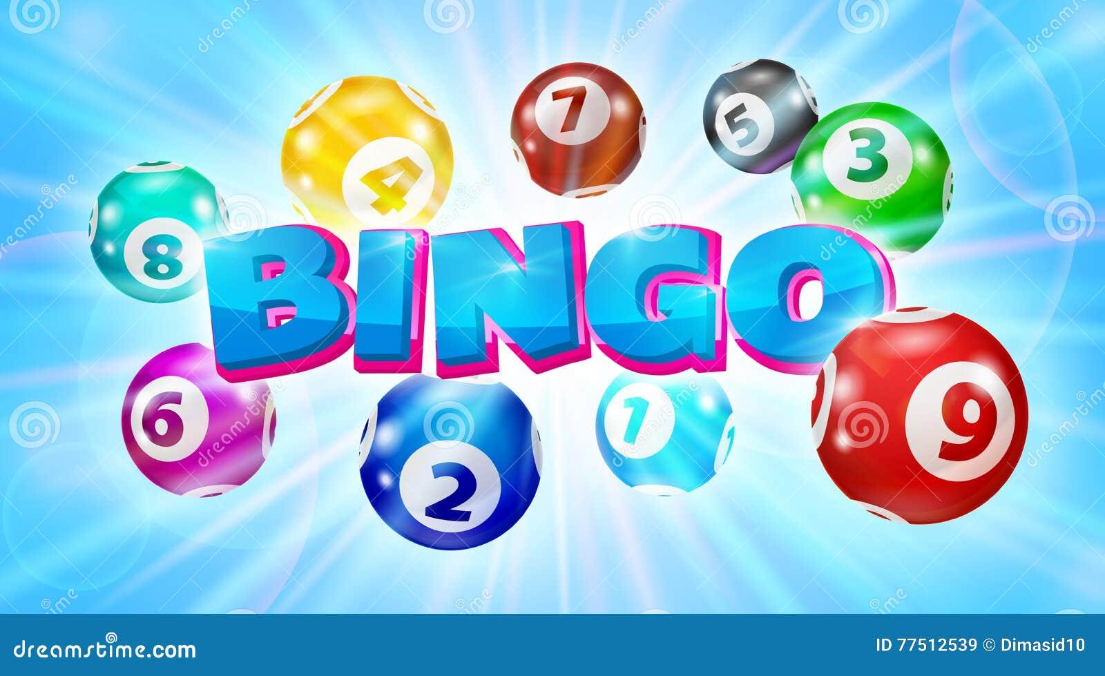 Шарики Lotto вокруг предпосылки Bingo слова накаляя голубой