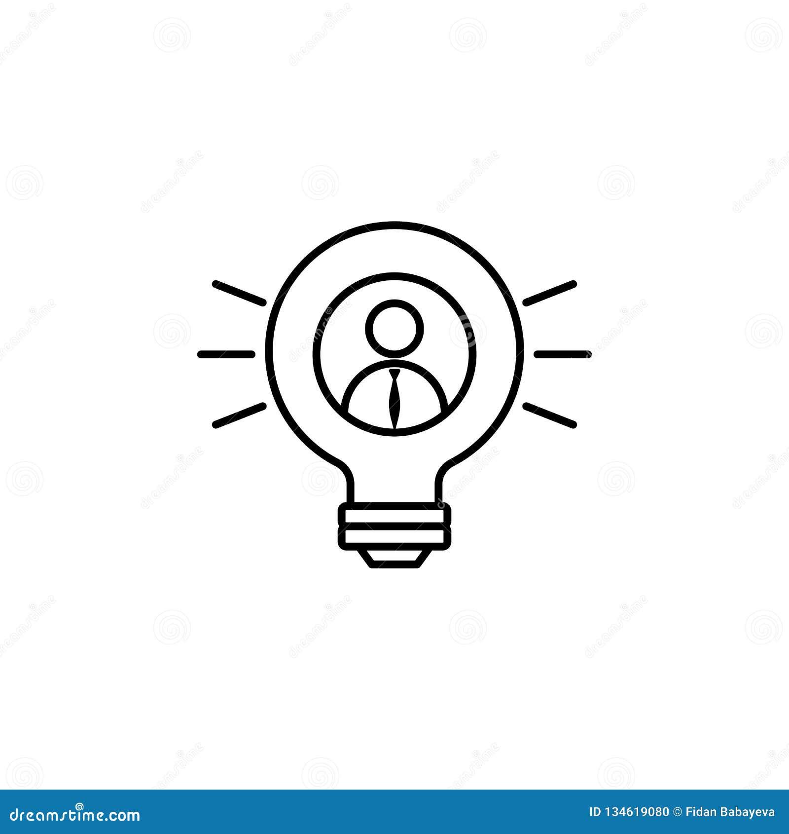 Шарик, бизнесмен, значок идеи на белой предпосылке Смогите быть использовано для сети, логотипа, мобильного приложения, UI, UX