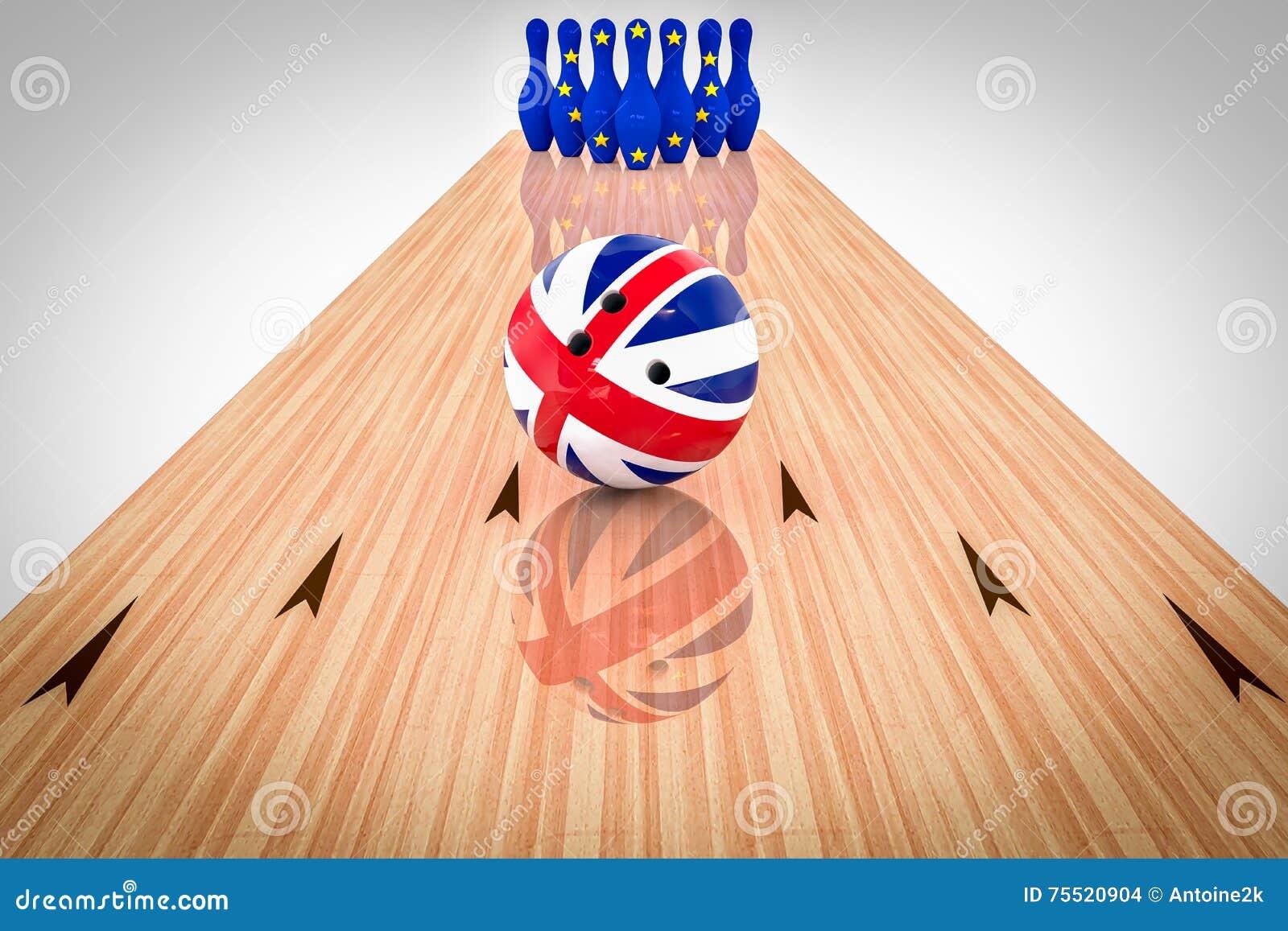 Шарик боулинга с флагом Великобритании и штыри боулинга с сообществ флагом