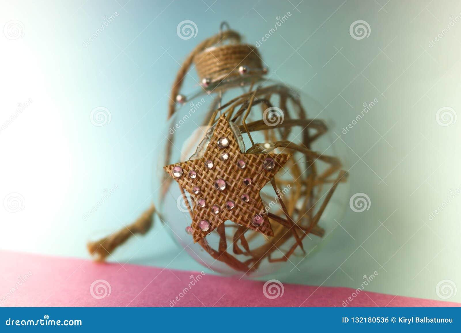 Шарик рождества небольшого рождества хипстера круга стеклянного прозрачного винтажного домодельного умного декоративного празднич