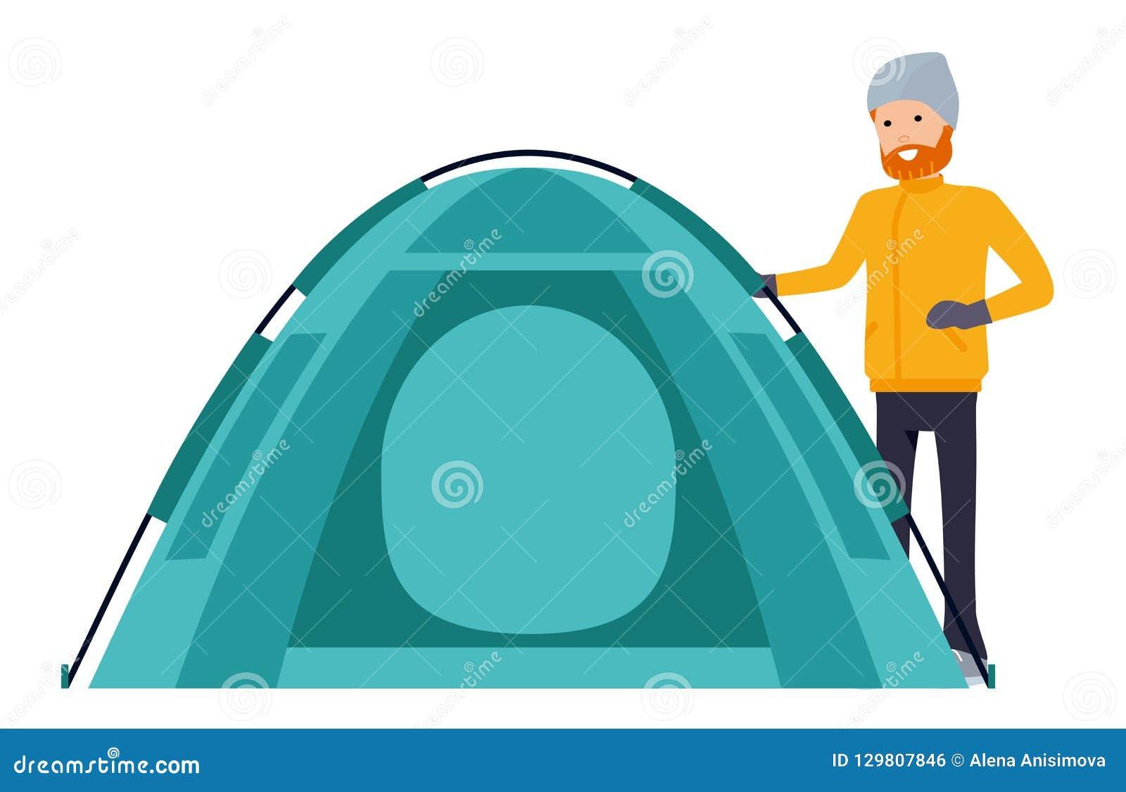 Шатер в базовом лагере иллюстрация в стиле мультфильма плоском изолированная на белой предпосылке