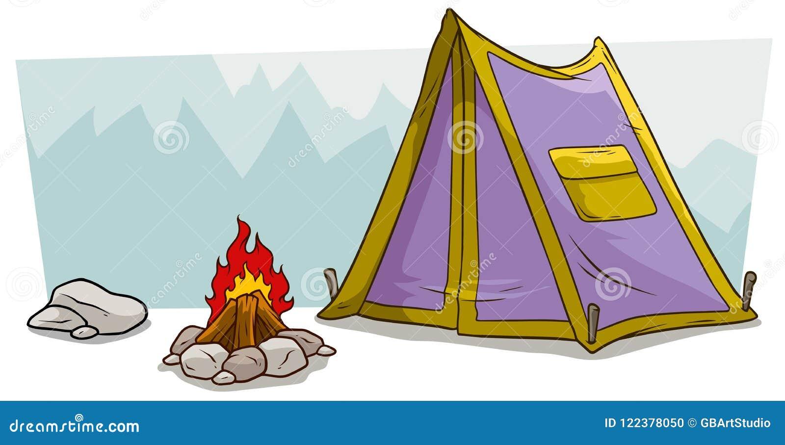 Шатер и лагерный костер шаржа располагаясь лагерем против горы