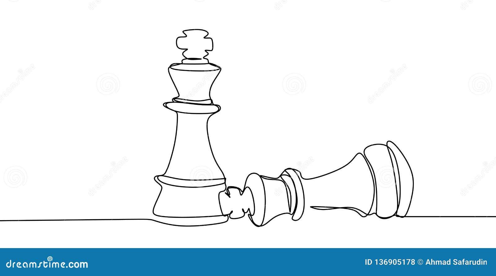 Шахматист нося вниз с оппонента Непрерывная одна линия иллюстрация вектора чертежа
