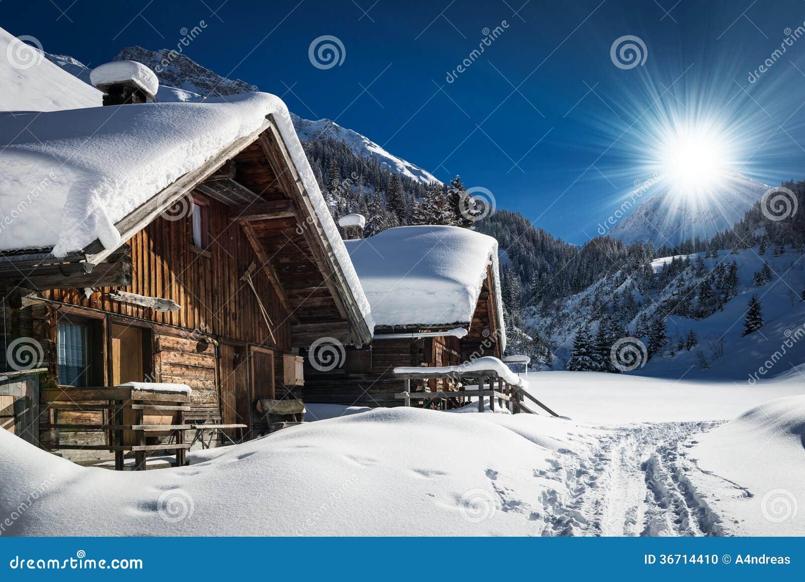 Шале и кабина лыжи зимы в горе снега