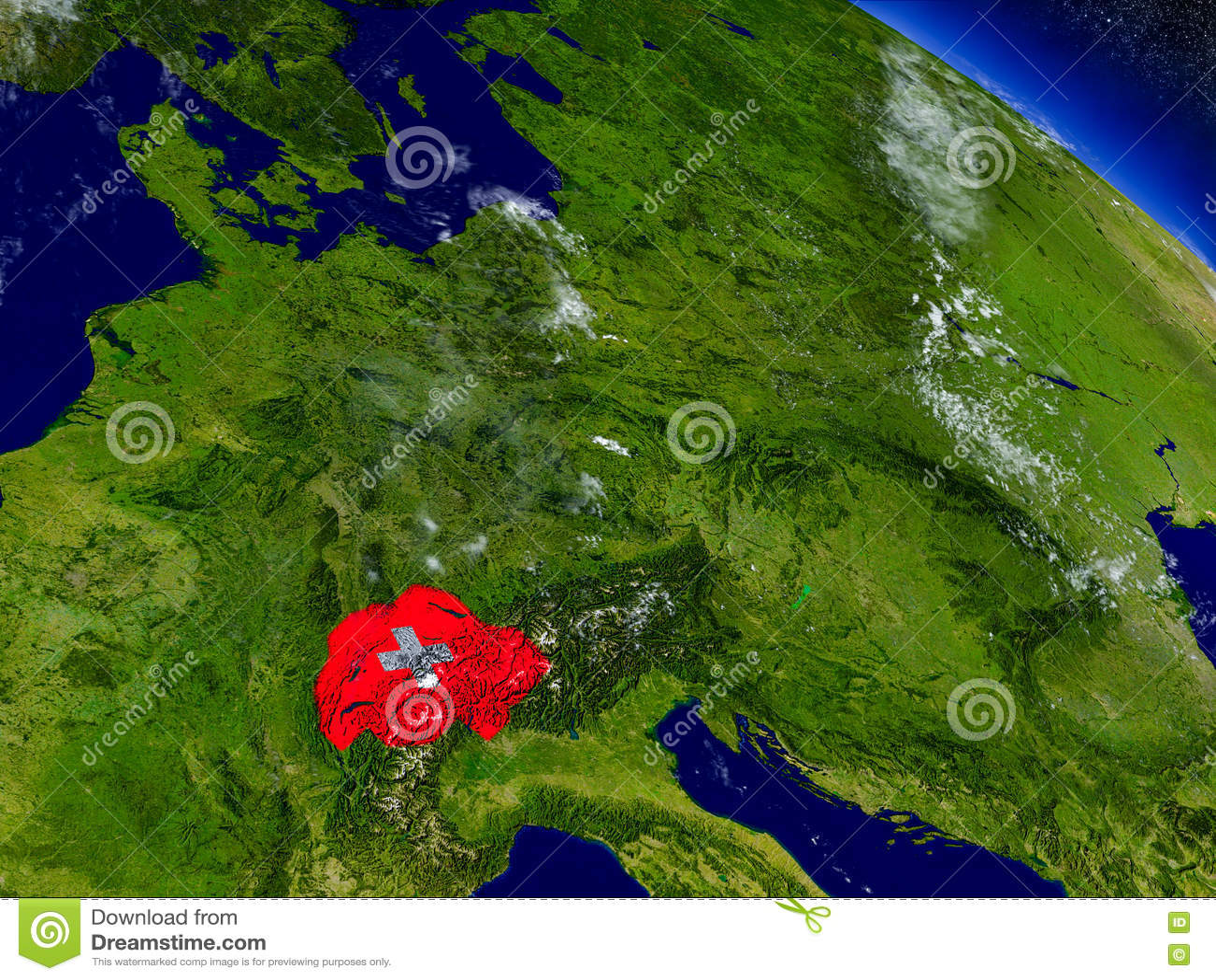Швейцария с врезанным флагом на земле