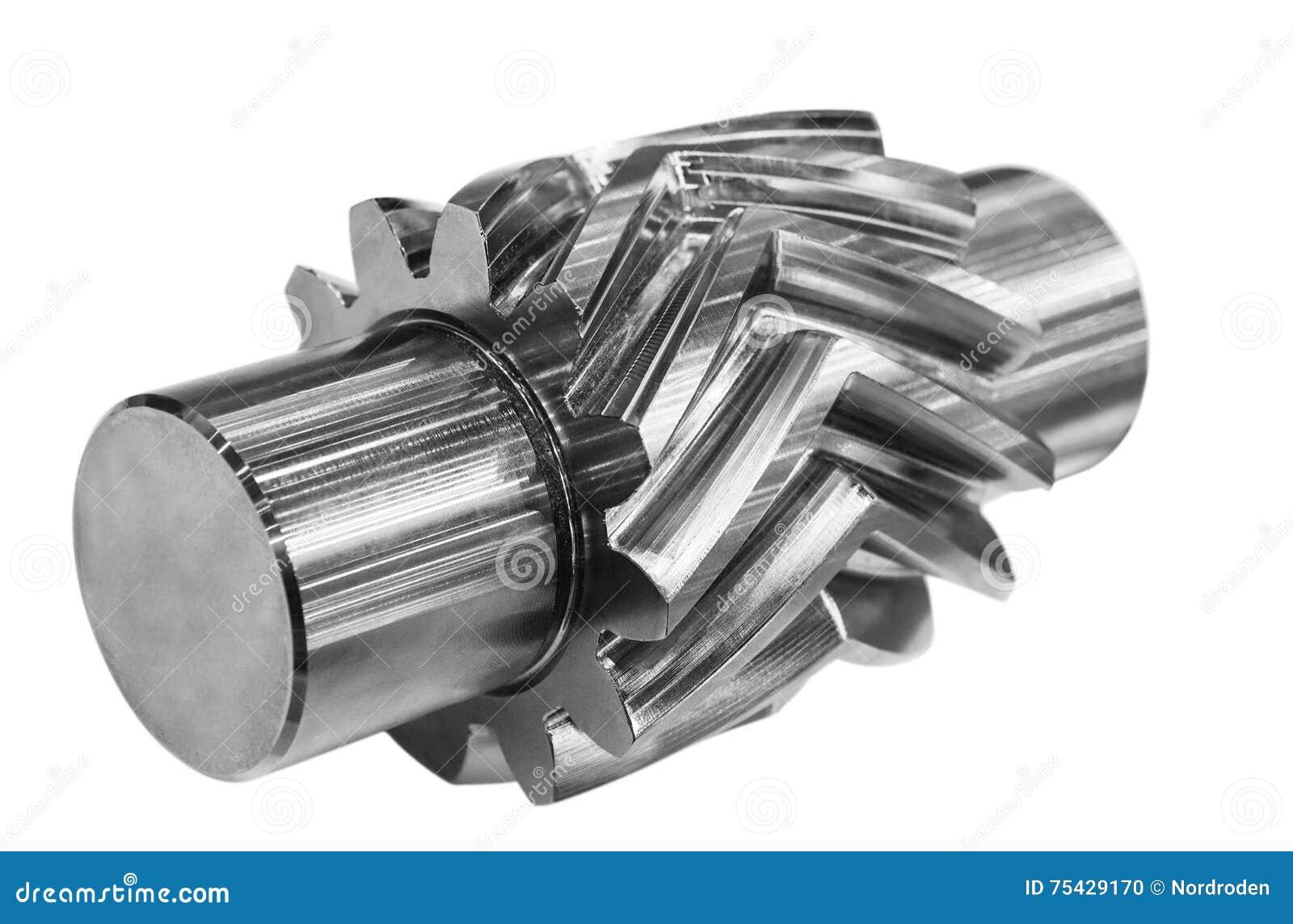 Шевронное toothed колесо белизна изолированная предпосылкой
