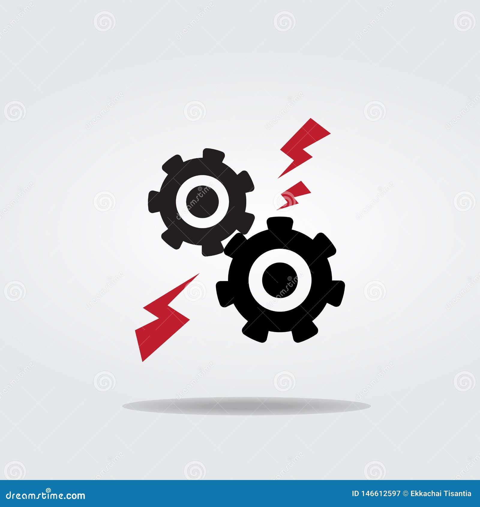 Шестерни или стиль дизайна иллюстрации вектора значка cog плоский