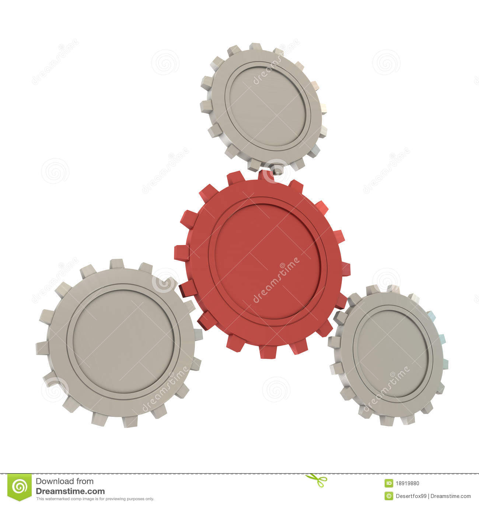 шестерни один красный серебр 3