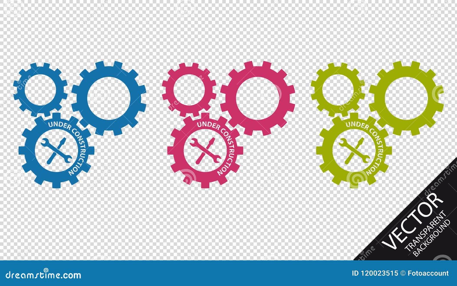 Шестерни под конструкцией при инструменты - красочные значки вектора - изолированные на прозрачной предпосылке