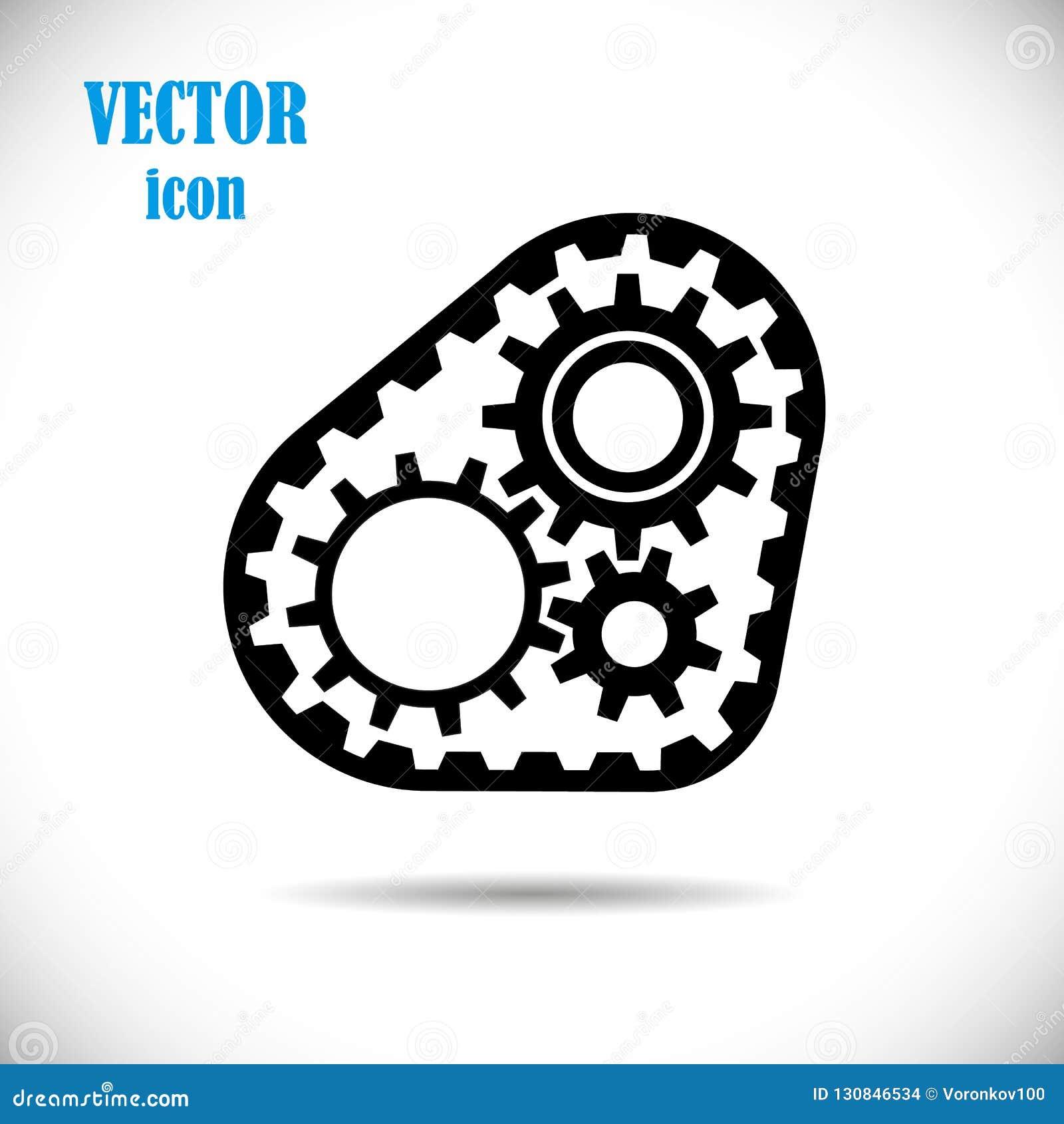 Шестерни с поясом времени, значком Замысел операции механизмов двигателя или приводной цепи также вектор иллюстрации притяжки cor