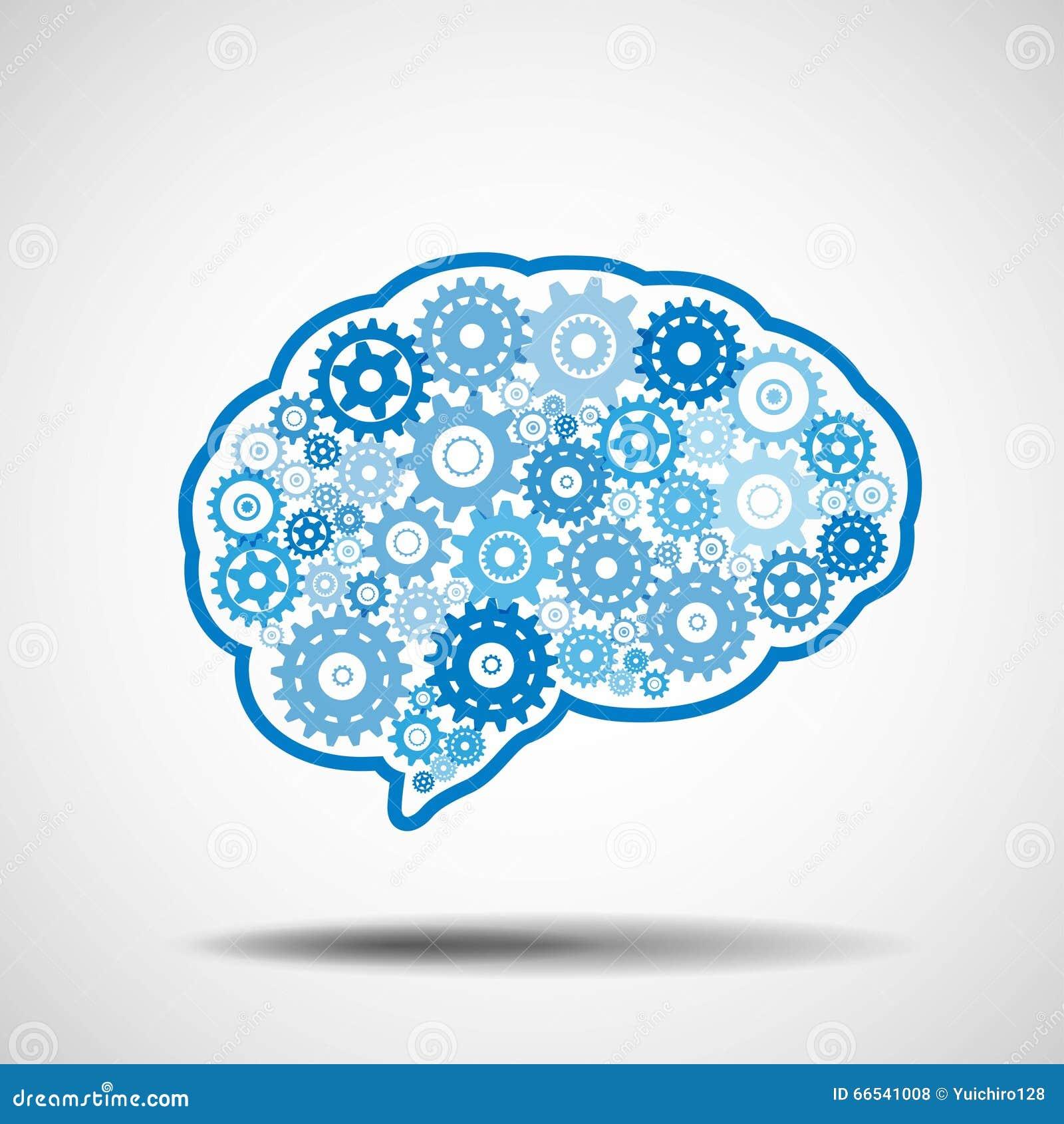 Шестерня мозга Концепция искусственного интеллекта AI