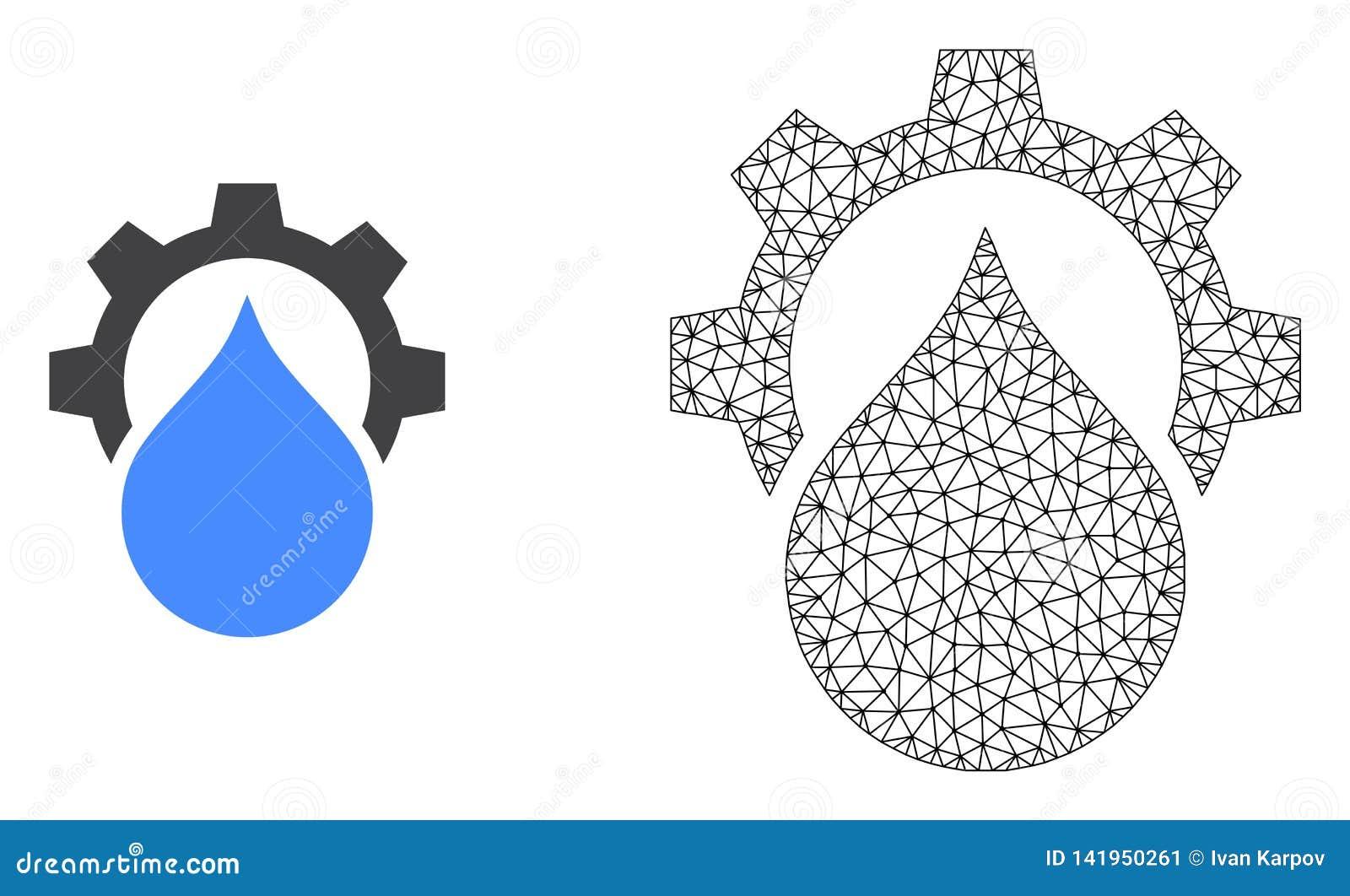 Шестерня обслуживания водоснабжения сетки туши вектора и плоский зна