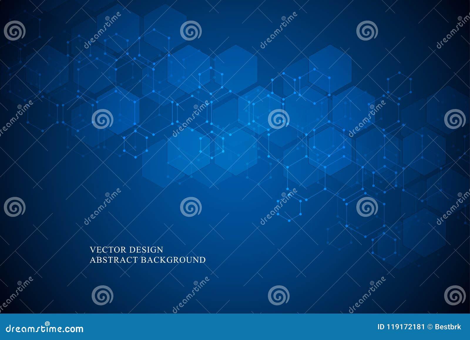 Шестиугольная молекулярная структура для медицинской, наука и цифровая технология конструируют Абстрактная геометрическая предпос
