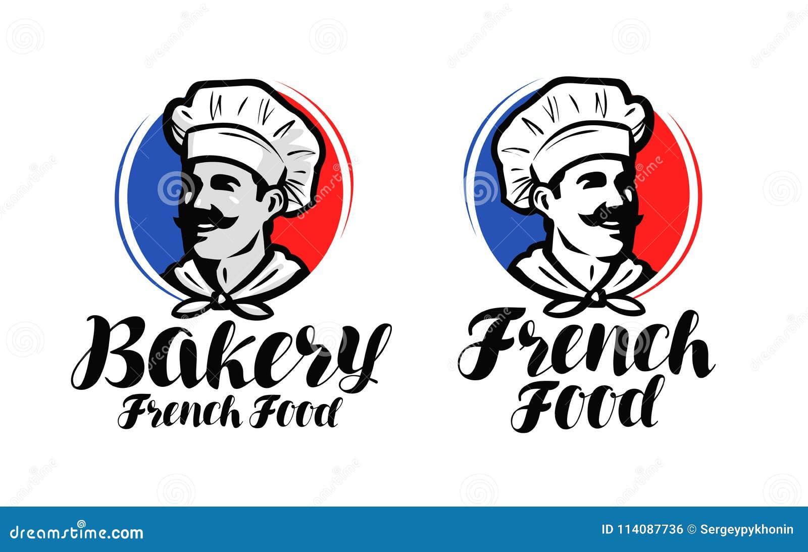 Шеф-повар, логотип кашевара Французская еда, символ хлебопекарни или ярлык Дизайн иллюстрации вектора типографский