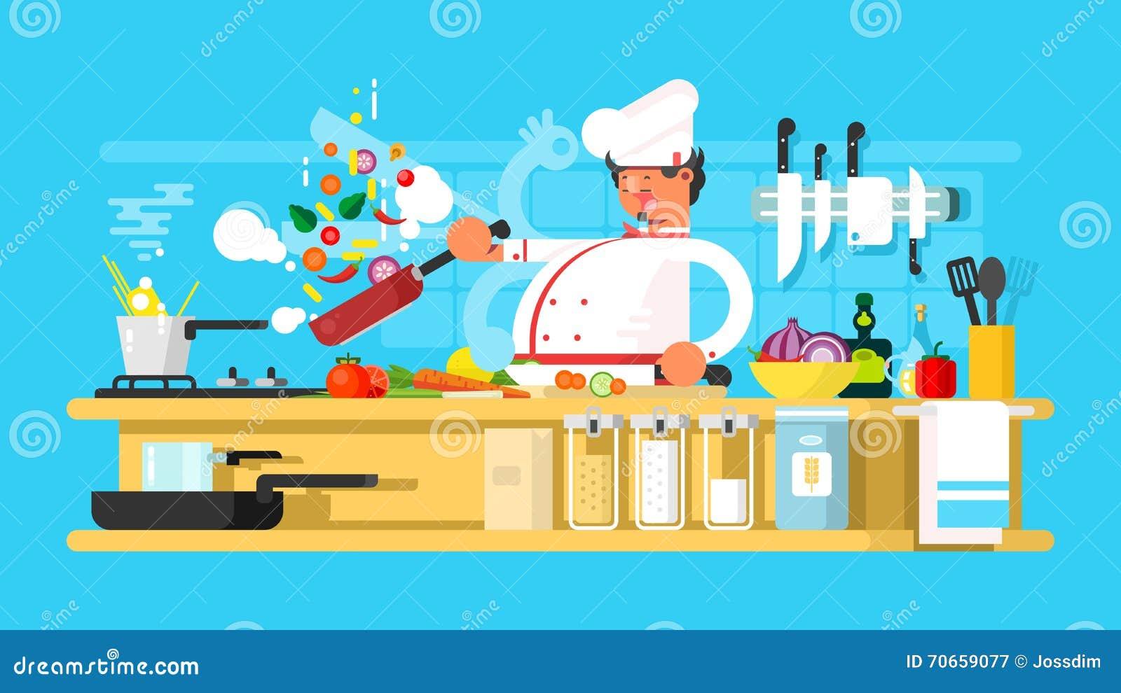 Шеф-повар подготавливает в кухне