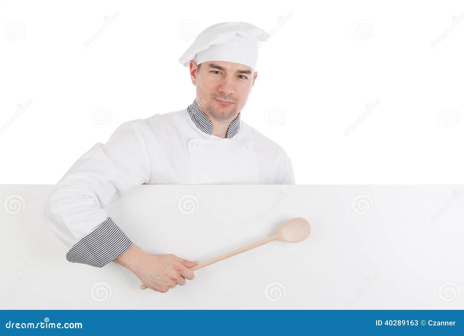 Шеф-повар с белой пустой доской