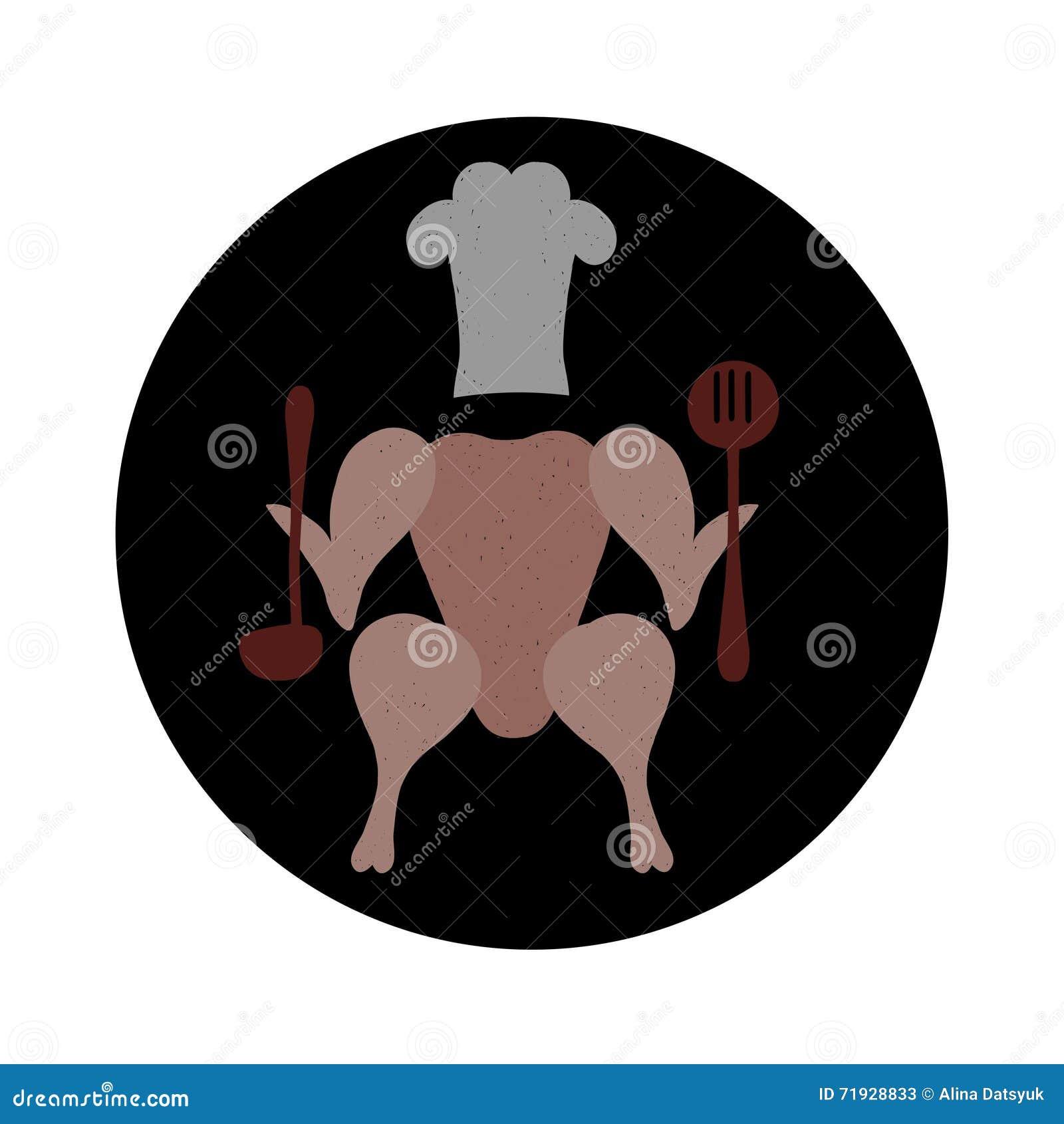 Шеф-повар цыпленка Изображение туши цыпленка в круге Значок цыпленка