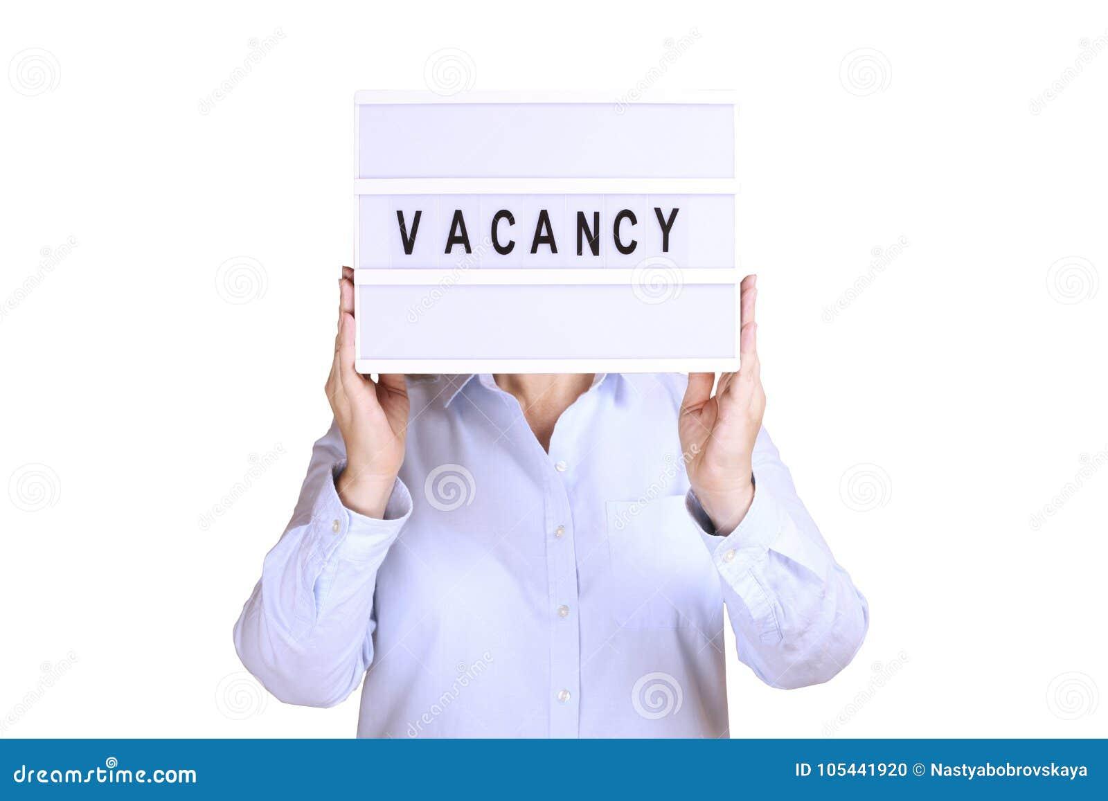 Шильдик владением бизнес-леди с текстом вакансии на ем Рекрутство и  концепция рабочего места 8a33f555432
