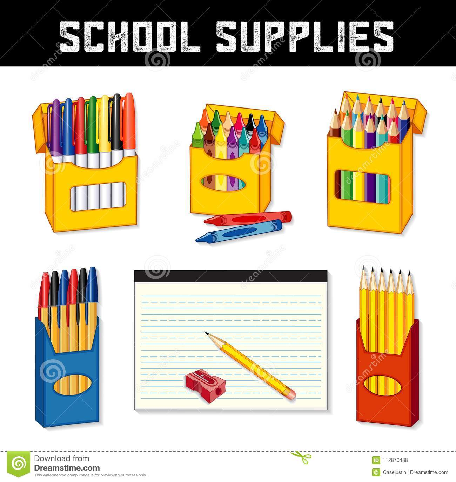 Школьные принадлежности, отметки, Crayons, ручки, карандаши, выровняли бумагу
