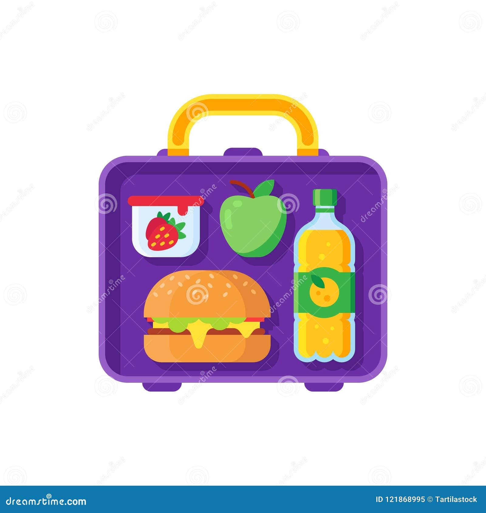 Школьный обед в коробке для завтрака Здоровый обедающий в коробке еды Сумка металла еды Schoolkid с шаржем сандвича, яблока и зак