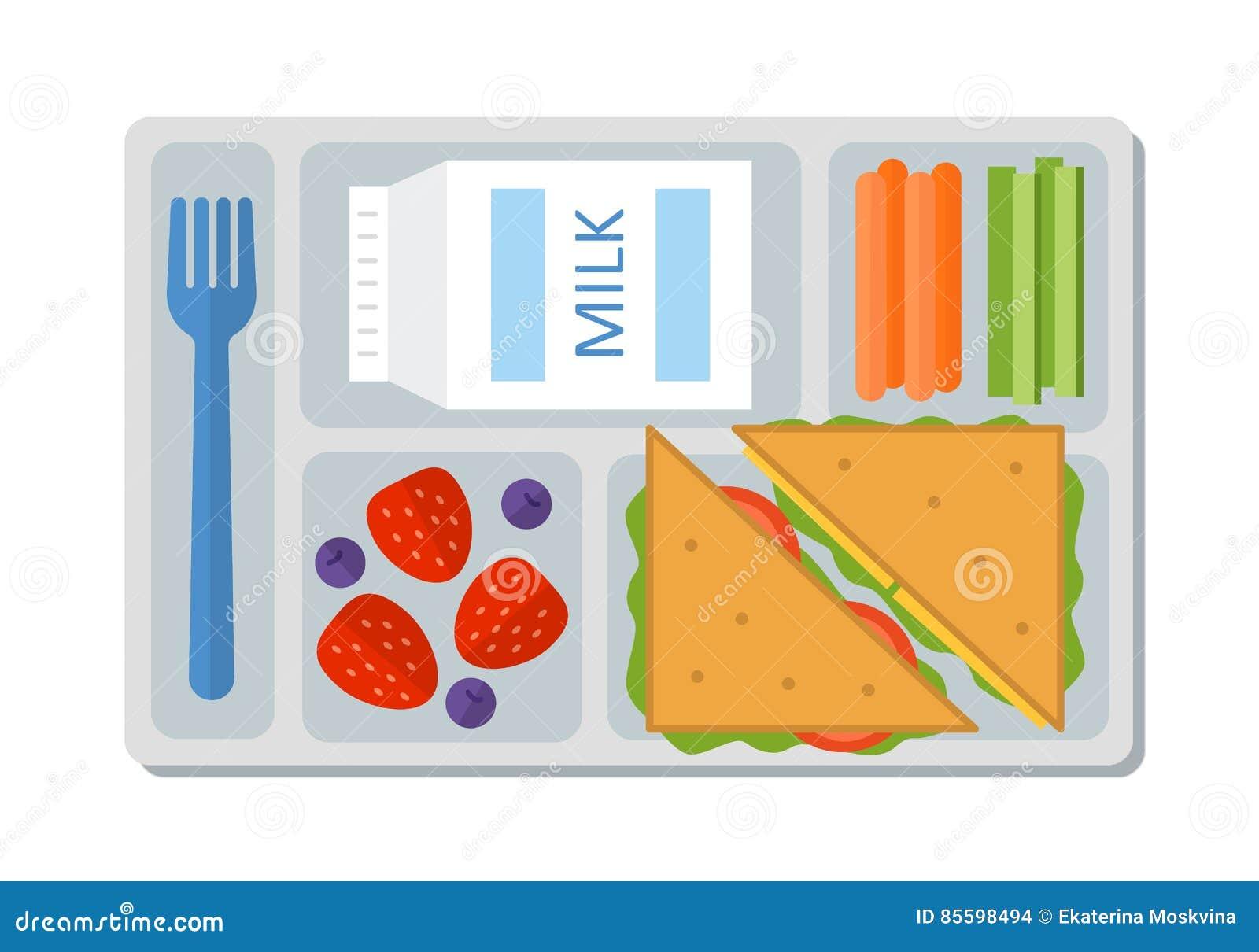 Школьный обед в плоском стиле