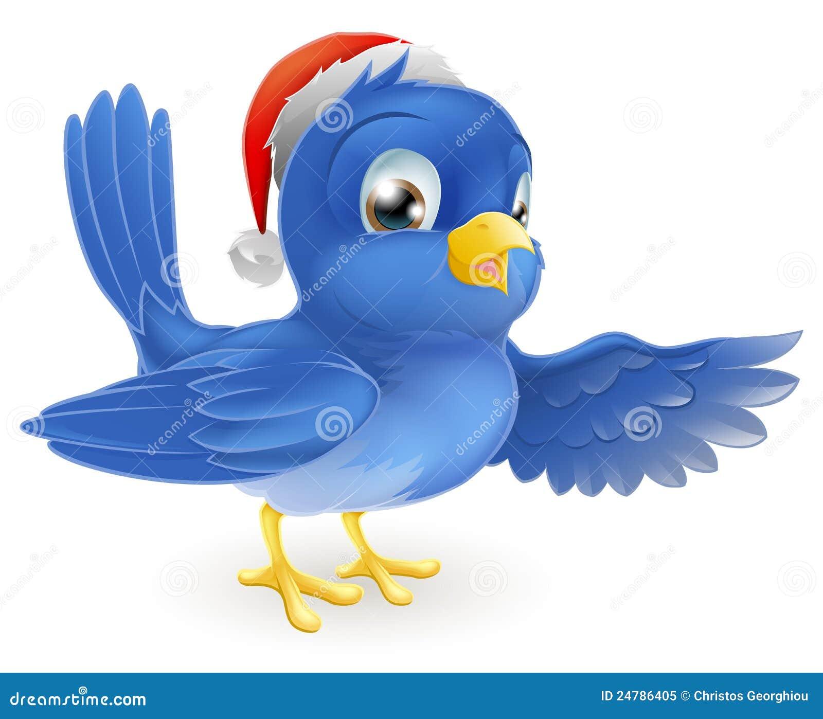 шлем рождества синей птицы указывая santa