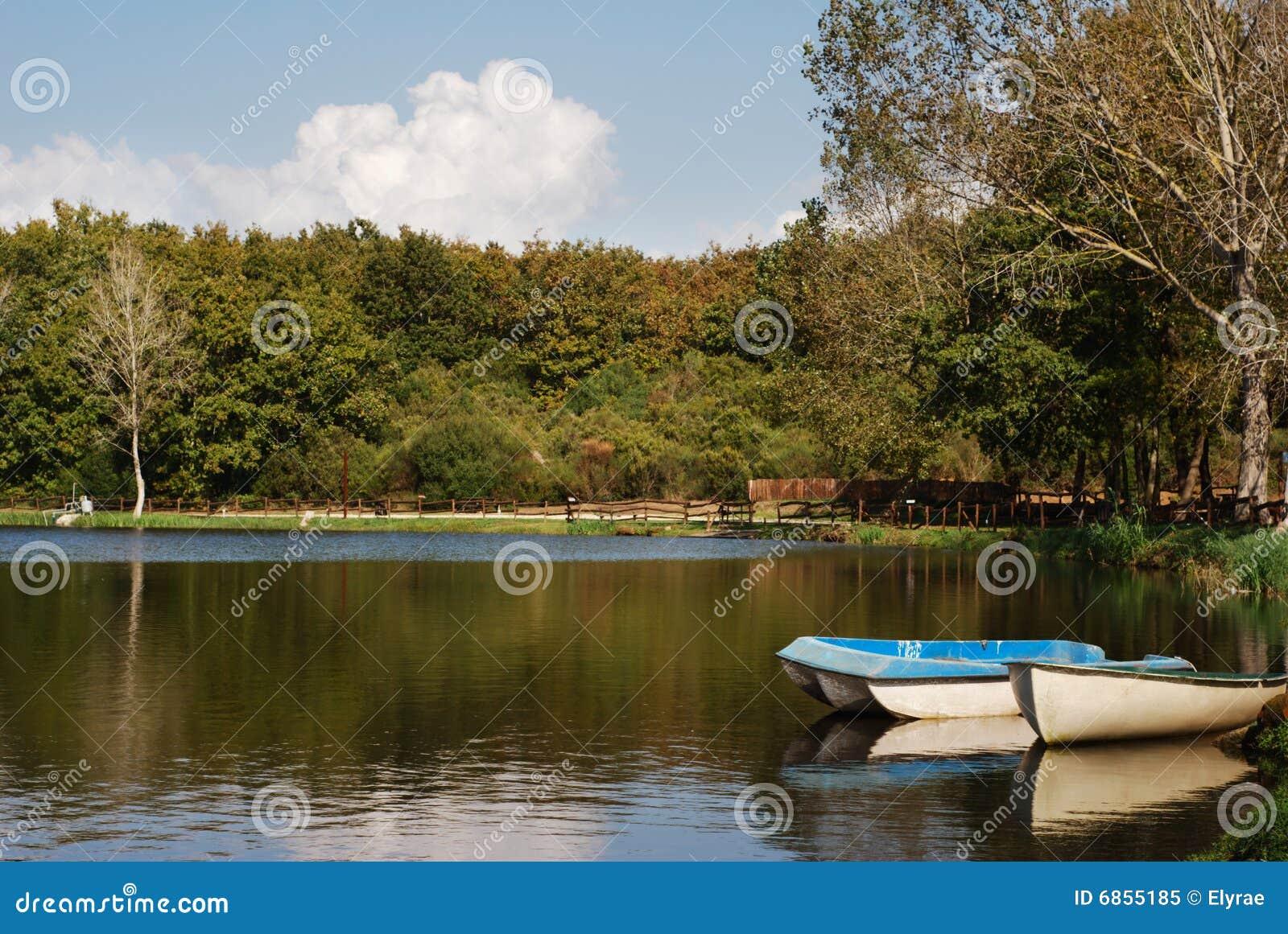 Шлюпки отражая на озере