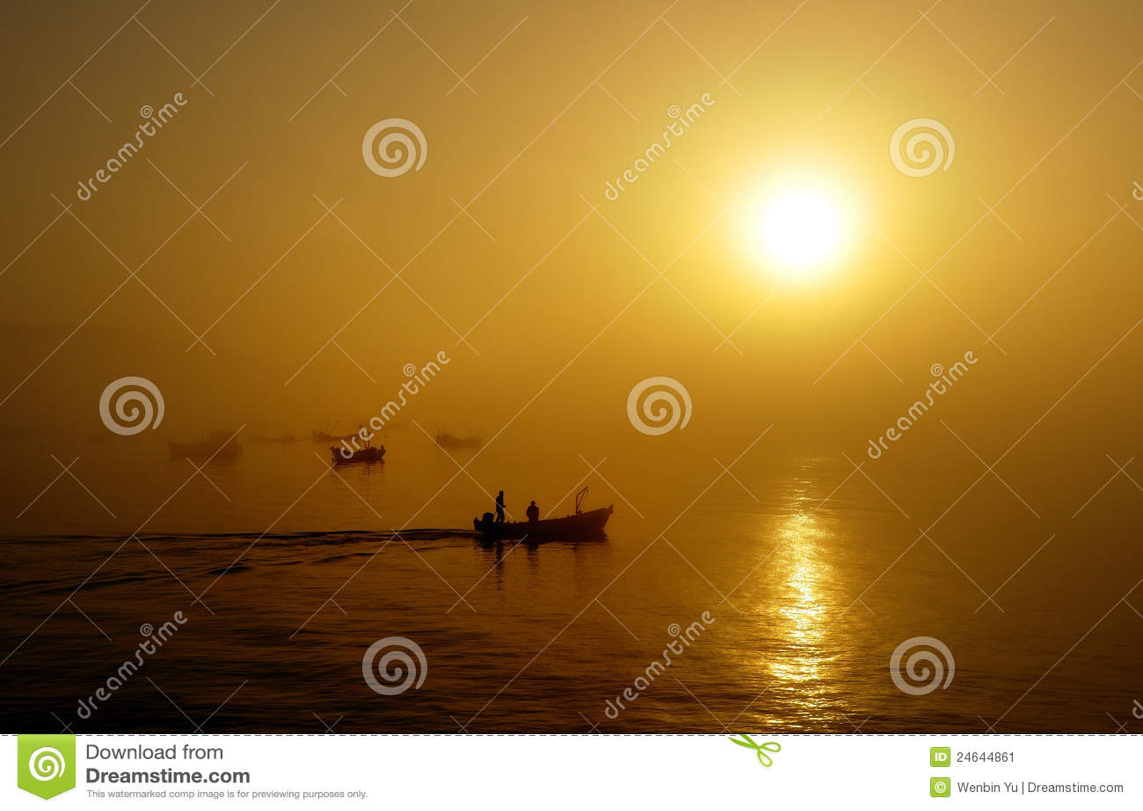 шлюпки удя заход солнца