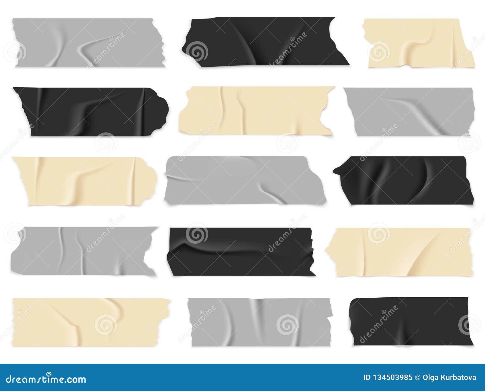 Шотландская лента Прозрачные клейкие ленты, липкие части Изолированный комплект вектора
