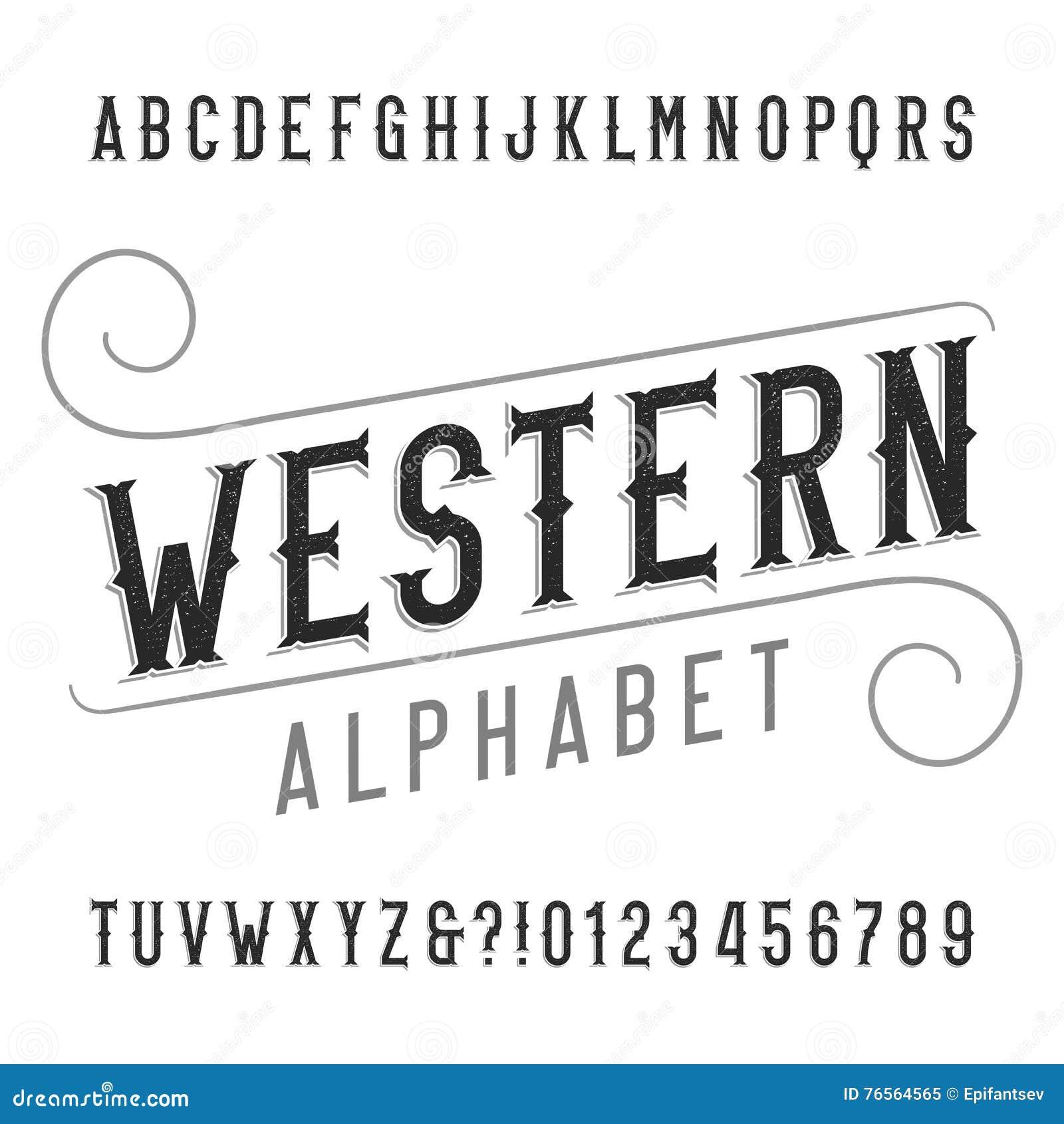 Шрифт алфавита западного стиля ретро Огорченный тип письма, номера и символы serif
