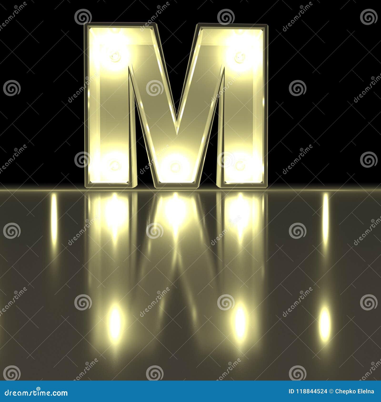 Шрифт характера m с отражением Alph письма электрической лампочки накаляя