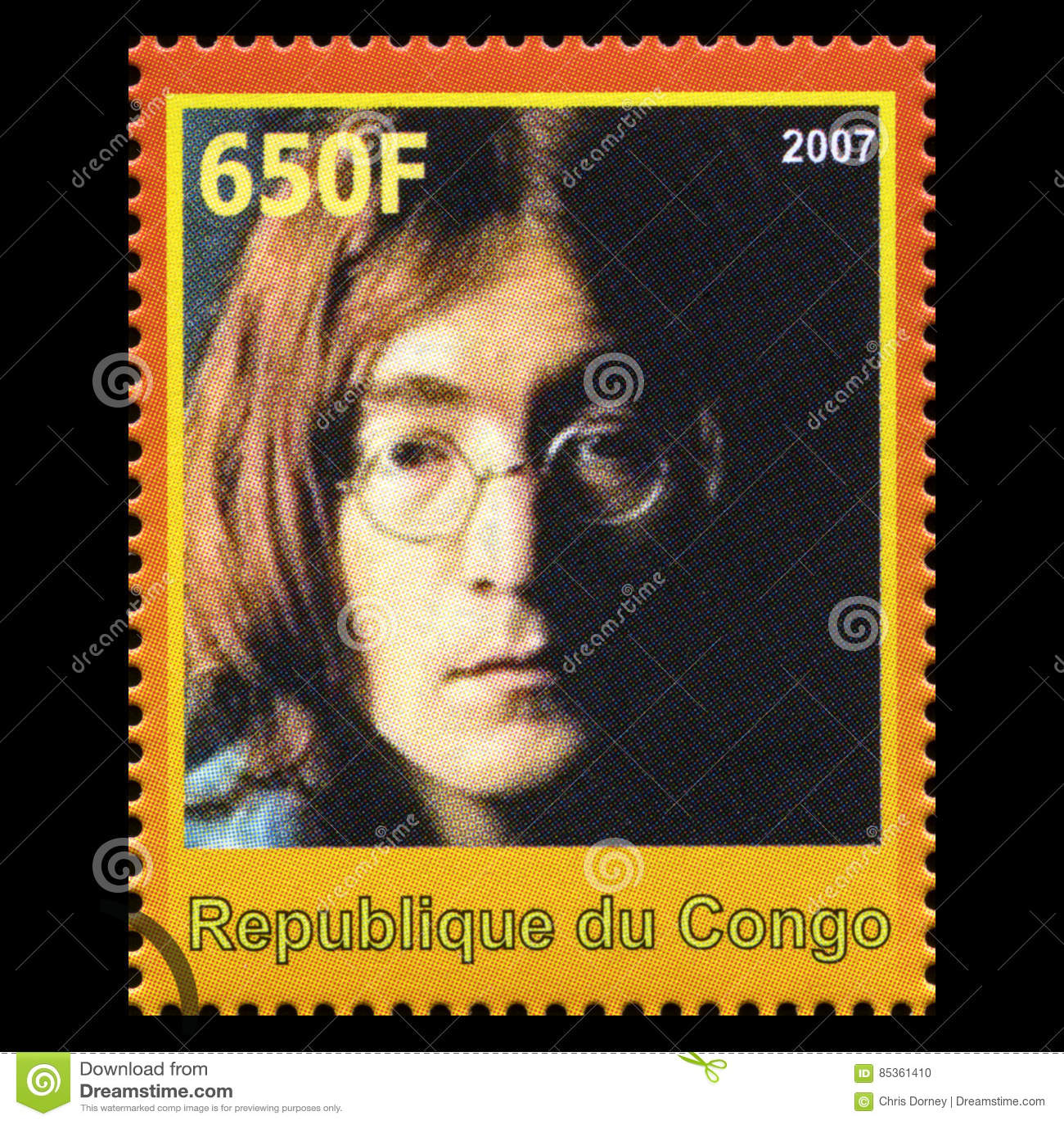 Штемпель почтового сбора Джон Леннон Beatles от Конго