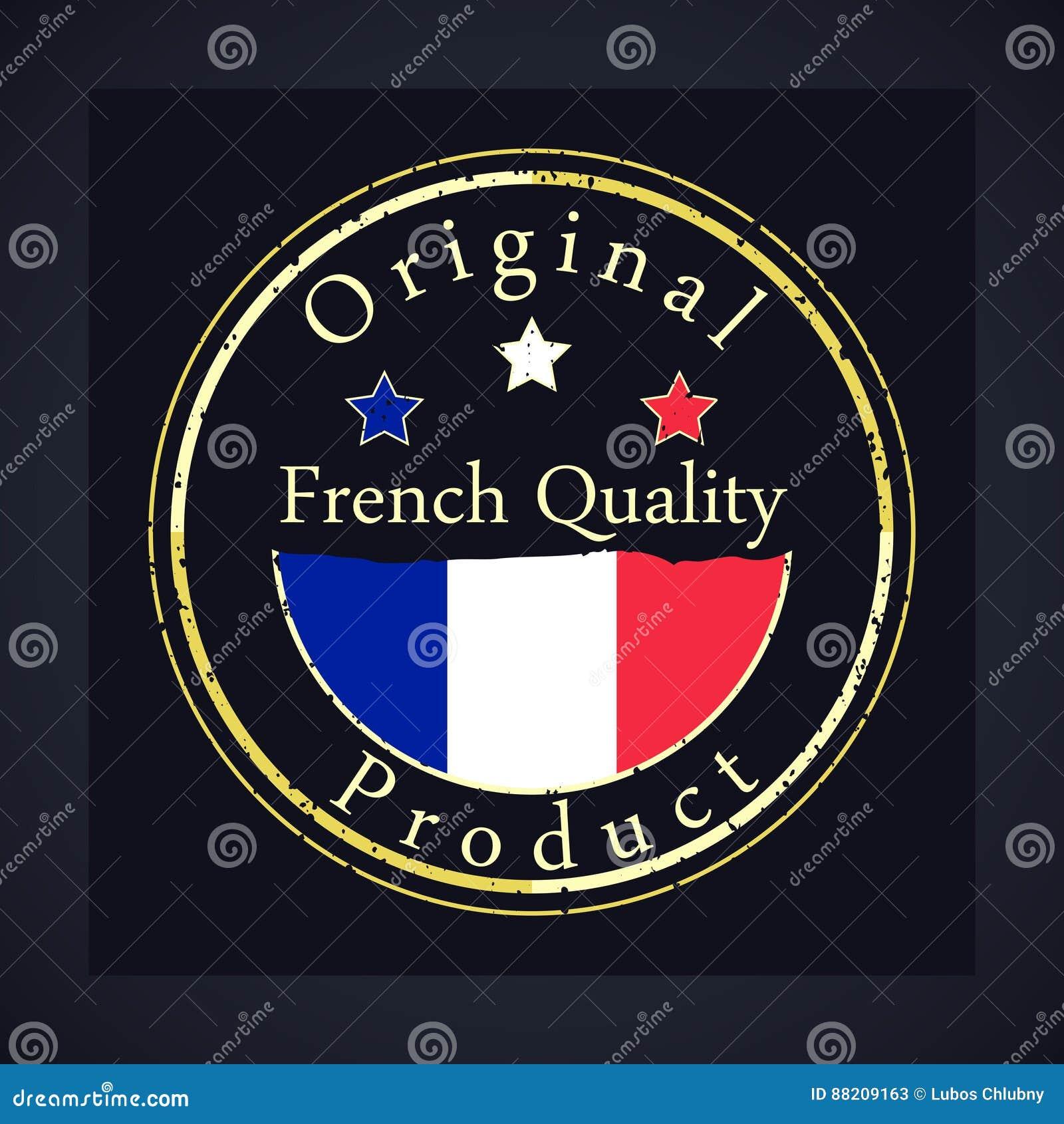 Штемпель grunge золота с качеством текста французским и первоначально продуктом