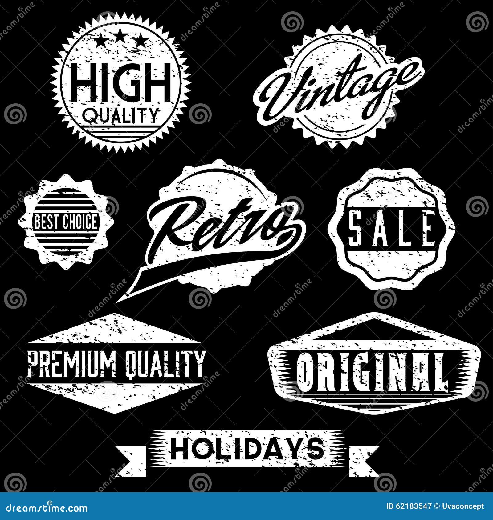 Штемпеля и значки черно-белого Grunge ретро