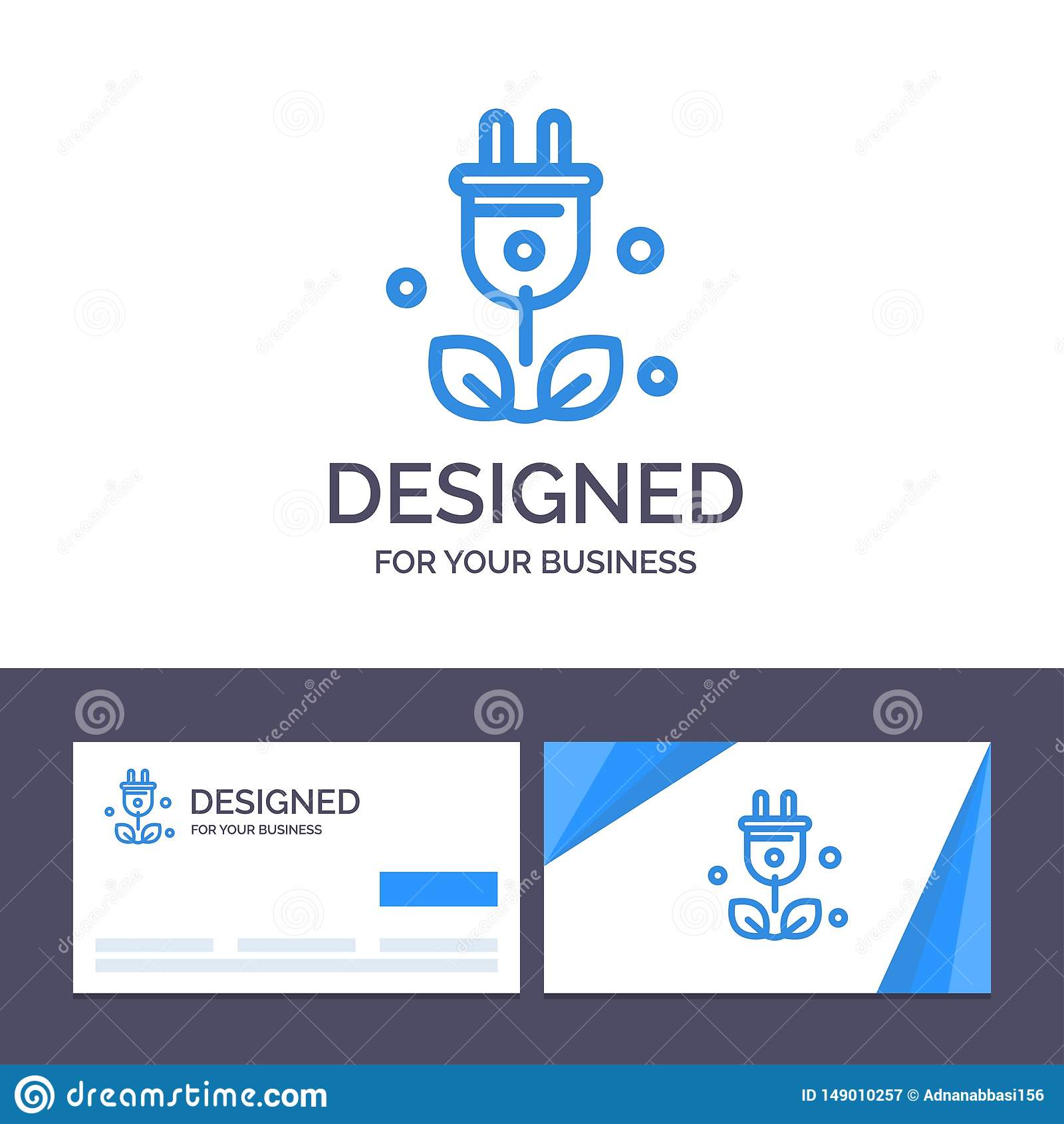 Штепсельная вилка творческого шаблона визитной карточки и логотипа, дерево, зеленый цвет, иллюстрация вектора науки