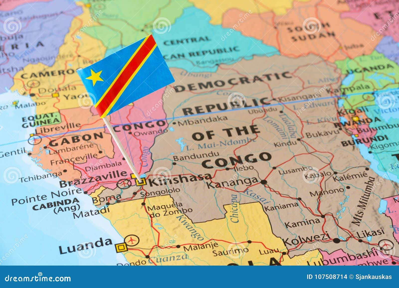 Штырь флага Демократической Республики Конго на карте