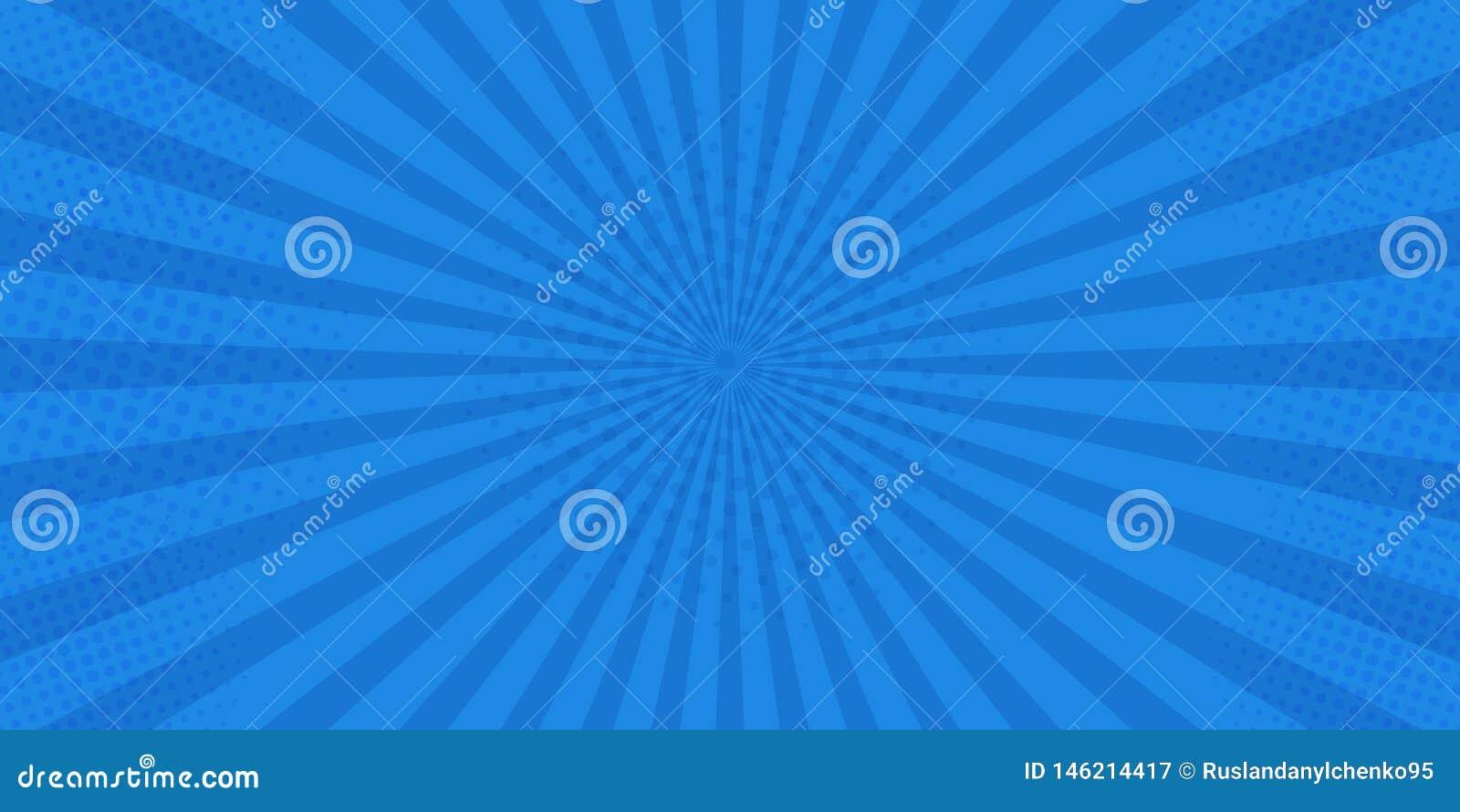 Шуточное искусства попа ретро Голубой супергерой предпосылки Точки полутонового изображения взрыва молнии Мультфильм против r