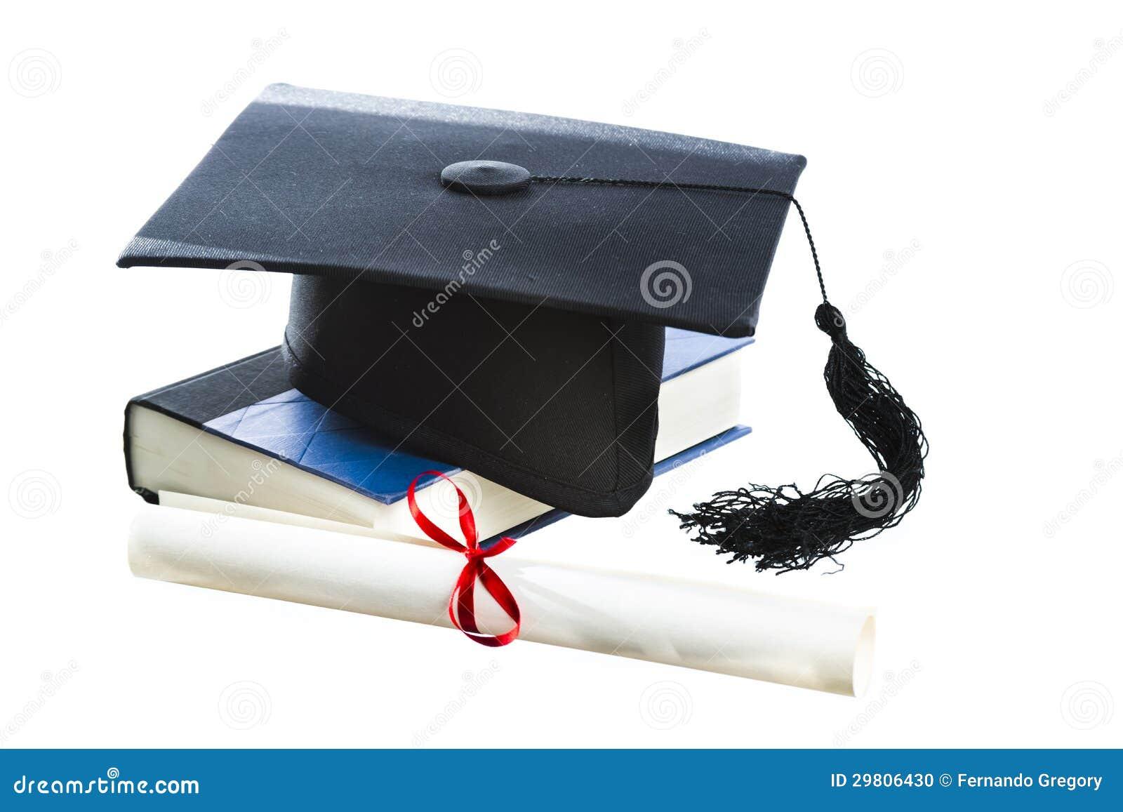 Шлем диплом и книга градации изолированные на белизне Стоковое  Шлем диплом и книга градации изолированные на белизне