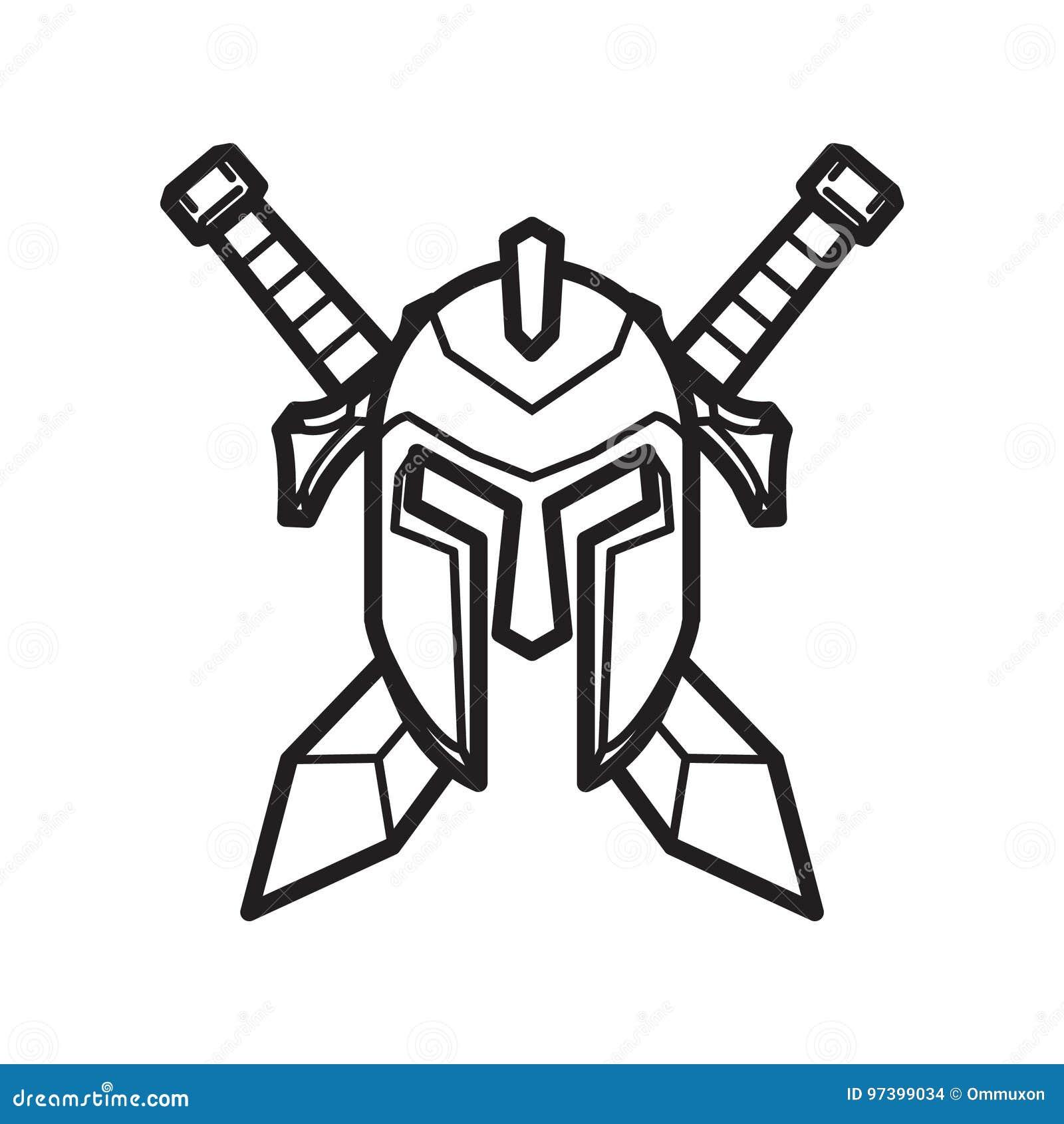 Шлем и шпага средневекового рыцаря