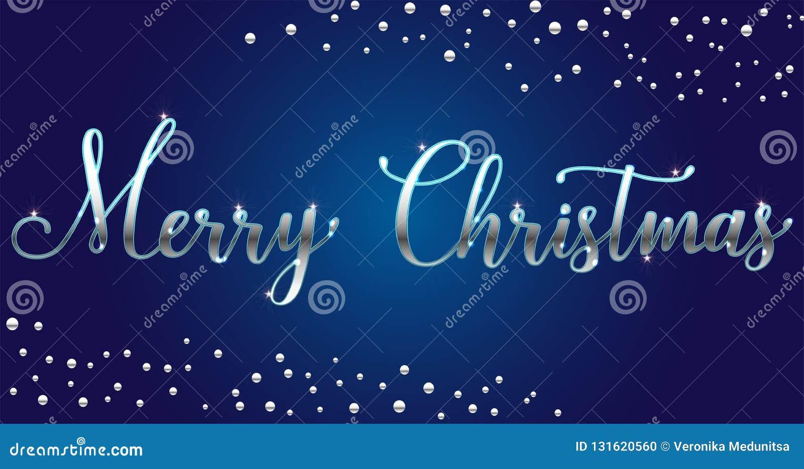 Щетка веселого рождества вектора серебряная яркая помечая буквами текст на голубой предпосылке, для приветствий, карты, реклама,