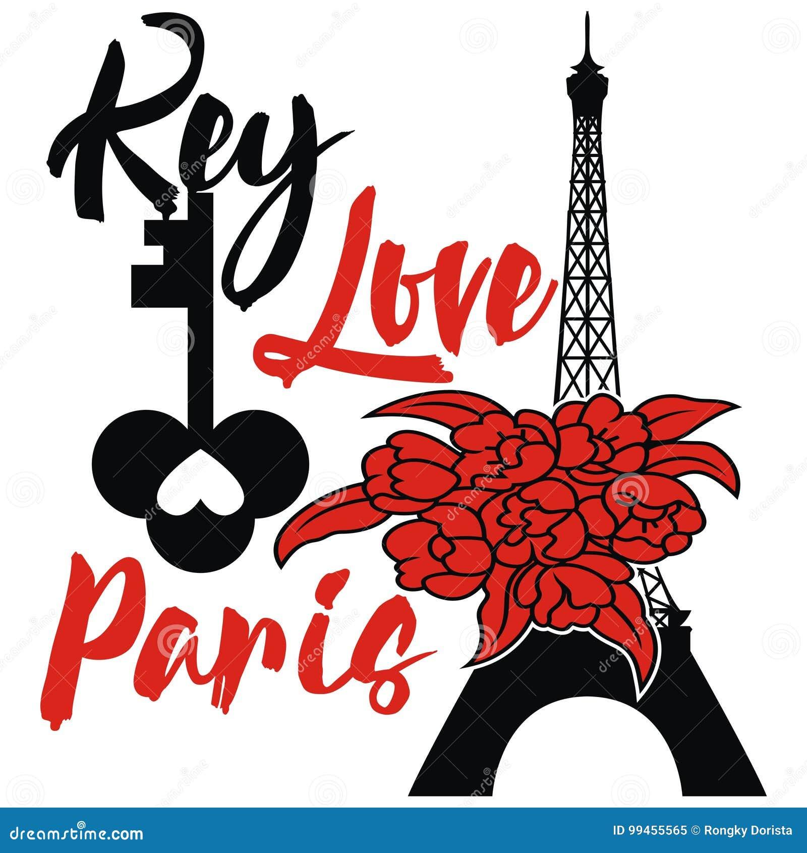 Эйфелева башня дизайна Парижа с ключом и цветком