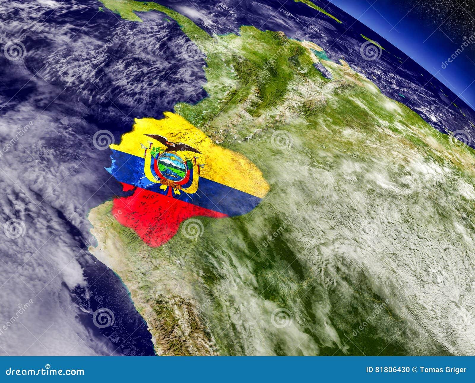 Эквадор с врезанным флагом на земле