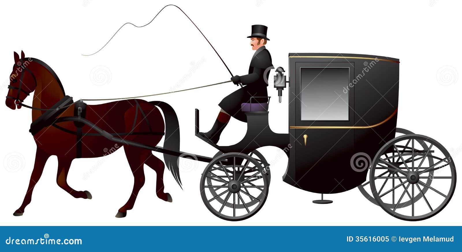 Экипаж, одна кабина Brougham лошади