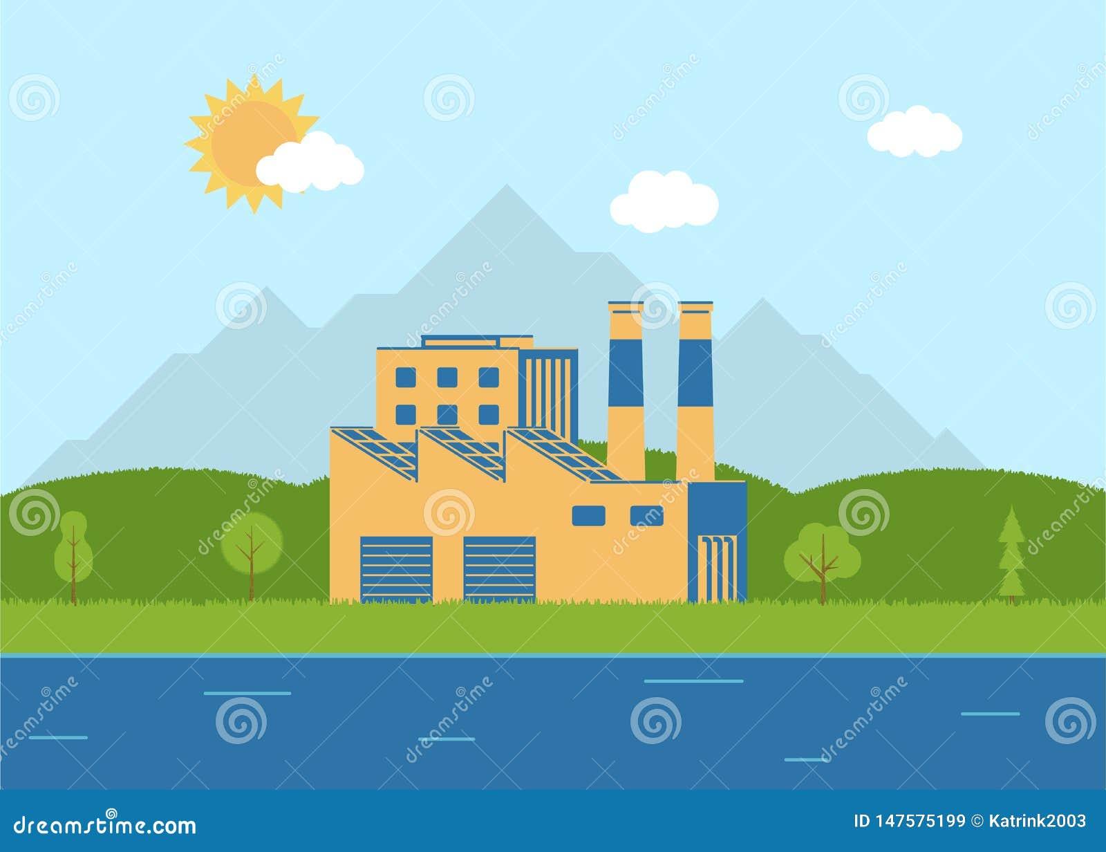 Экологическая фабрика около реки r environment