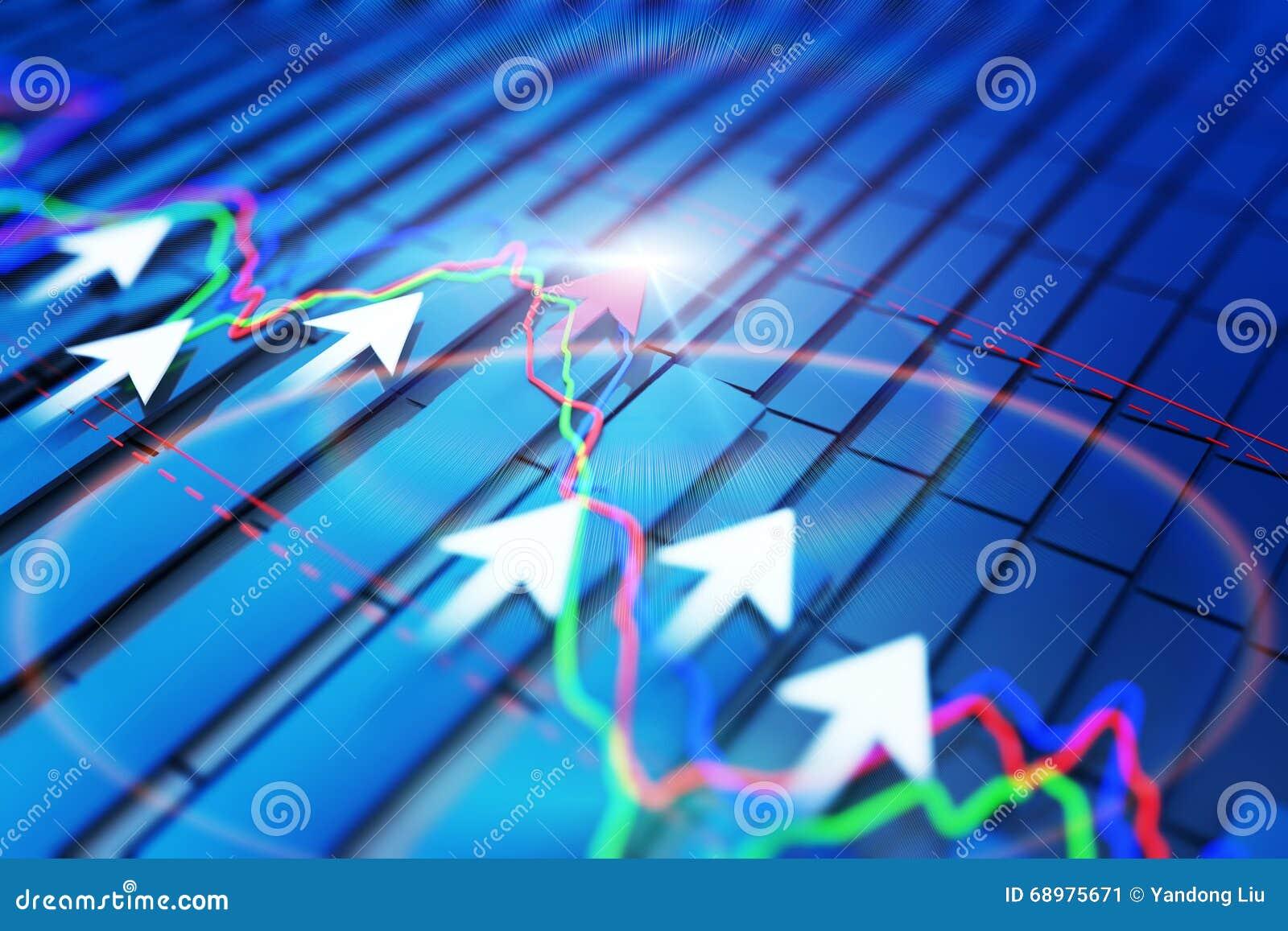 Экономические показатели и двигают вперед с стрелкой