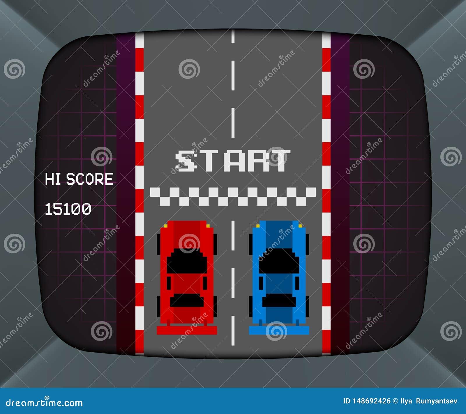 Экран машины аркады с ретро видеоигрой