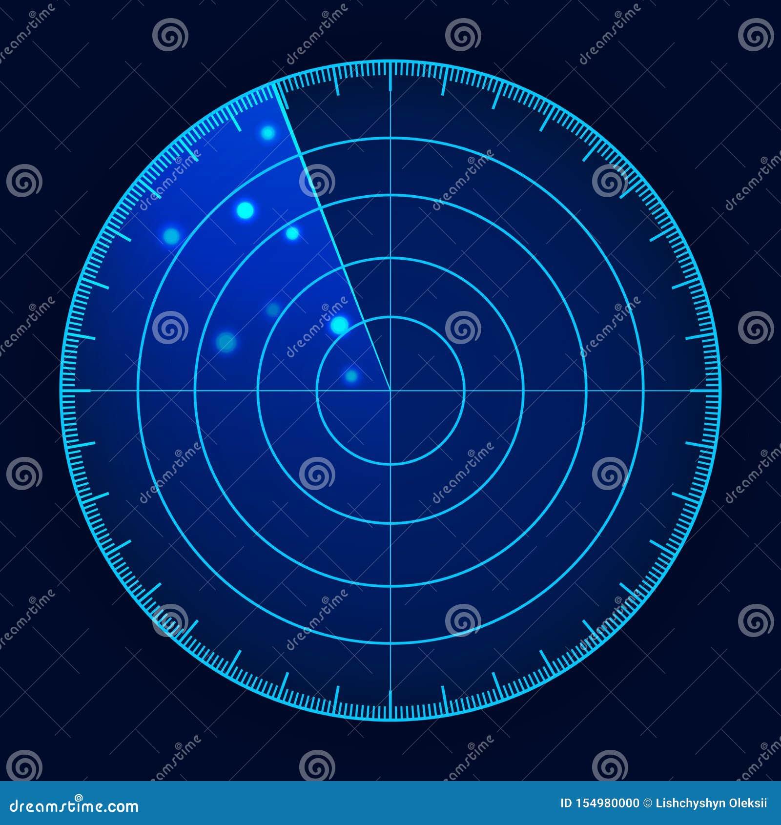 Экран радара вектора голубой Военная поисковая система Футуристический дисплей радиолокатора HUD Футуристический интерфейс HUD