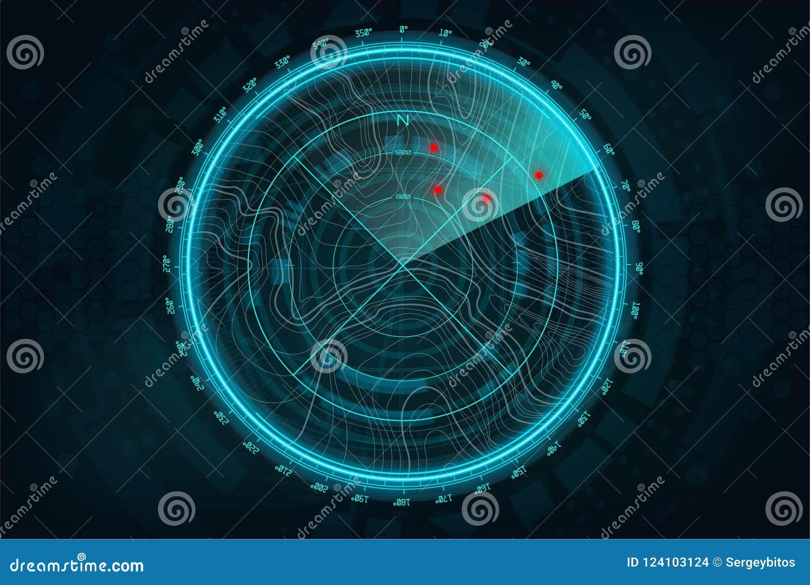 Экран радара в футуристическом стиле