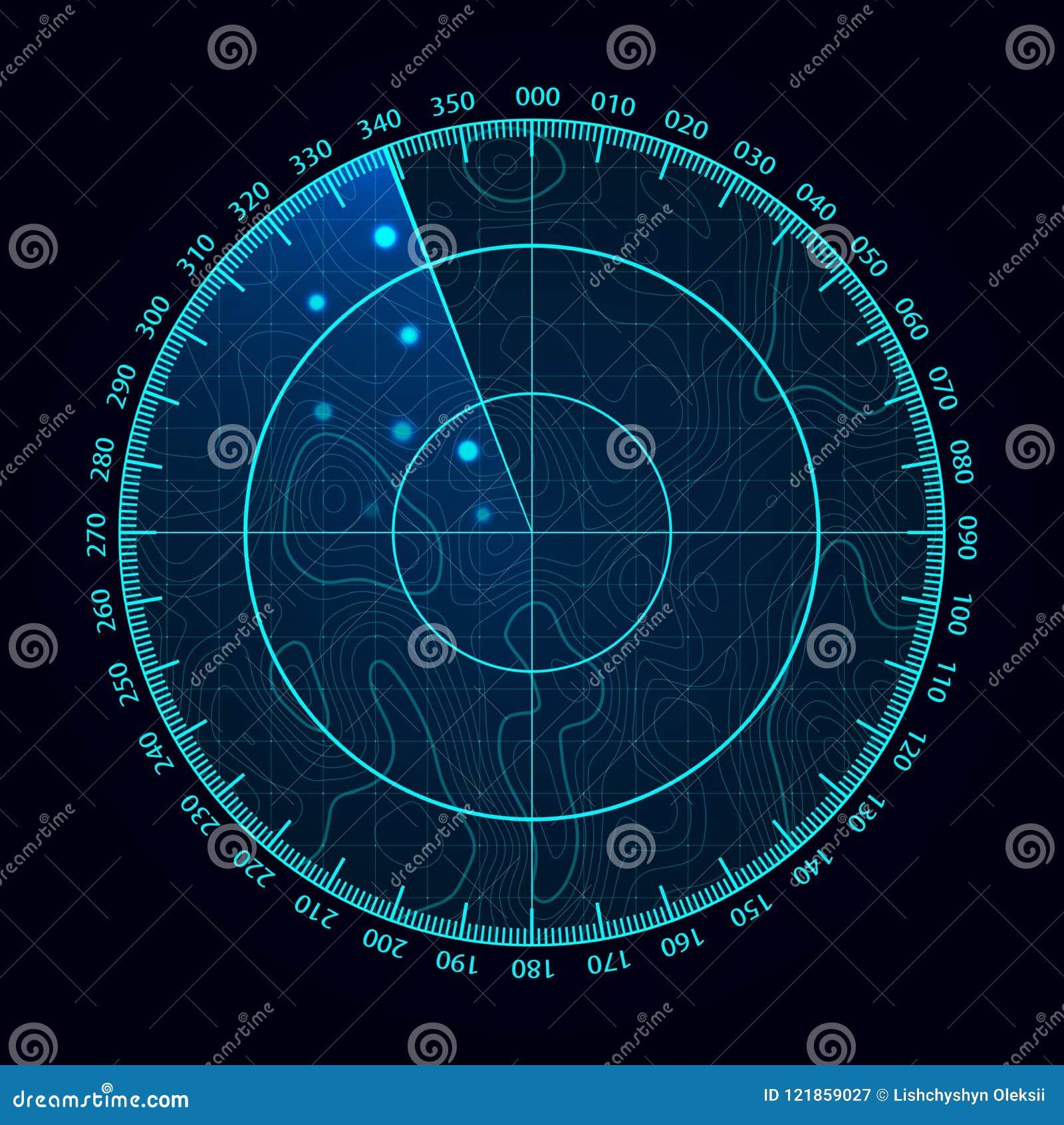 Экран радара сини вектора Воинская поисковая система Футуристический дисплей радиолокатора HUD Футуристический интерфейс Hud