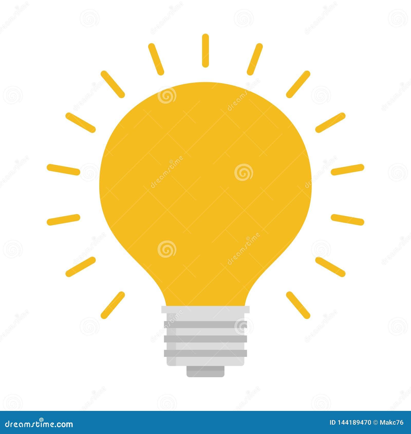 Электрическая лампочка с блеском лучей Символ энергии и идеи